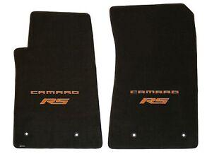 LLOYD Velourtex FRONT FLOOR MATS Orange CAMARO RS Logos fits 2010 to 2015 Camaro