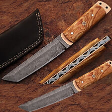 Damascus Steel Tanto Point Hunting Knife Burl Olive Wood Handle