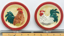 """Set Of 3 4 1/2"""" Decorative Rooster and chicken Wall Plates"""