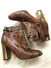 Topshop Luxury Snake Skin Leather Ankle Boots, Brown And Black, Metallic Heel 37