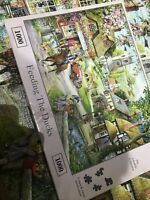 Hop 1000 PIECE DELUXE JIGSAW PUZZLE - FEEDING THE DUCKS ( Eskdale ) Complete !