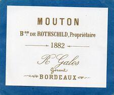 PAUILLAC 1EGCC VIEILLE LITHOGRAPHIE CHATEAU MOUTON ROTHSCHILD1882 RARE§01/01/17§