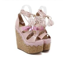 Women's Open Toe Creepers Wedge Platform High heels Lace up Cut out Sandal Shoes