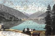 Rarität Litho AK 1908 Davosersee Richtung Tinzenhorn Berg Panorama Stadtansicht