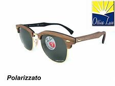 RAY BAN CLUBMASTER WOOD 3016M 1181/58 LEGNO NOCE POLAR Sunglass Sonnenbrille