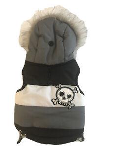 Simply Dog M Gray Skull Puffer Jacket Coat Dog Cat Fleece Faux Fur Hood XS