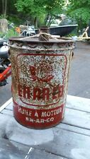 Vintage EN AR CO Motor Oil Can Bilingual  W/ Bottle Nose Cap
