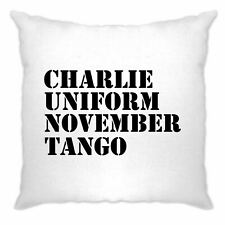 Charlie, Uniform, November, Tango Cushion Cover NATO Rude Subtle Insult