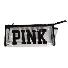 Victoria's Secret Cosmetic Bag Clear Zip Close Pink Travel Case Makeup New