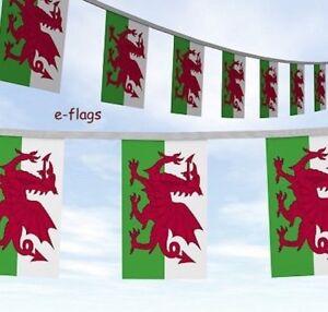 HUGE 33ft Wales Cymru Welsh Dragon RUGBY Flags Bunting SPEEDY DELIVERY