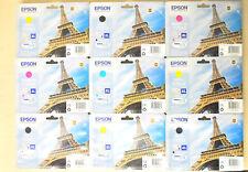 C Lot 9 Cartouche d'Encre Originale EPSON XL T7021 T7022 T7023 T7024 Tour Eiffel