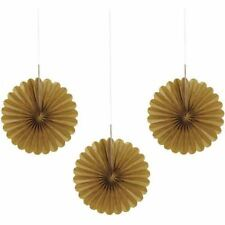 3 Gold Mini Tissue Paper Fans Birthday Party Decorations Wedding Anniversary