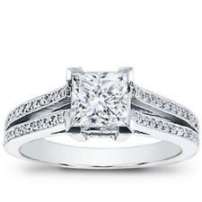 Certified2.45Ct Art deco Princess Diamond Engagement Ring Stamped 14k White Gold