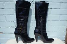 ~ RIVER ISLAND PATENT LEATHER BOOTS ~ 7 40 ~PLATFORM PULL ON BLACK LEATHER BOOTS