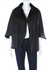 NWT BRIONI Black Leather Shearling Fur Batwing Sleeve Coat Sz OS 991106 $13969