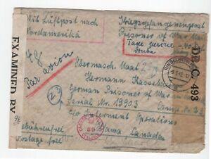 GERMANY/CANADA: POW-airmail cover censored Ringelheim to Canada 1942. Arr.canc.