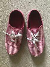 Striped casual tennis shoes, watermelon & white stripes, Women's size 10. Cute!