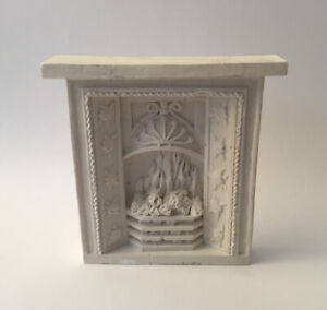 Dolls House White Resin Fireplace
