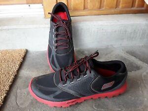Mens SKECHERS Go trail running shoes red black trainer lightweight 10.5 UK 45 EU
