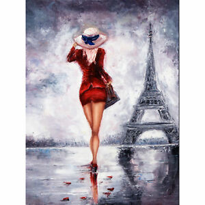 Lady Wearing Red In Paris Large Wall Art Print Canvas Premium Poster