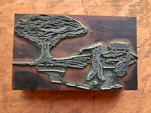 Antique Printers Block - Golfer Driving from the Tee on the links - Golf