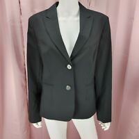 Jones New York Women's Black Cotton Long Sleeve Blazer Jacket Size 14