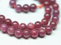 Natural Rare Red Ruby Untreated Blood Smooth Round Ball Gemstone Beads 7mm 16""
