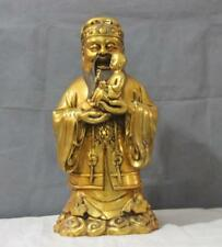 Chinese fengshui Bronze Copper Gild the god of Luck pray Fortunate Buddha Statue