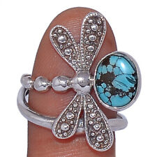 Dragonfly - Tibetan Turquoise 925 Sterling Silver Jewelry Ring s.9 AR162038