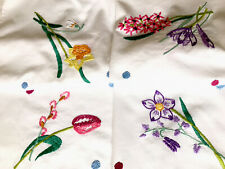 More details for vintage hand embroidered white cotton spring flowers tablecloth 31x29 inches