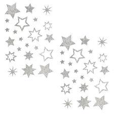 Stern Sticker Aufkleber Silber Glitzernde Funkelnde Sterne Mix - selbstklebend