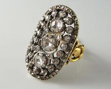 Georgian Rose Cut Diamond Panel Ring 18K Gold & Silver 18th C Wedding Engagement