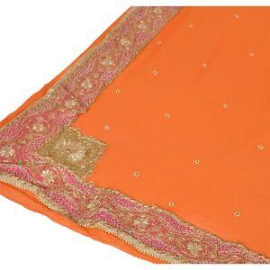 Sanskriti Vintage Heavy Dupatta Georgette Stole Hand Beaded Zardozi Orange