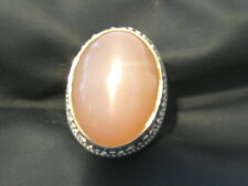 HUGE RARE 16.14CT VINTAGE NATURAL PINK CAT'S EYE STERLING SILVER MENS RING
