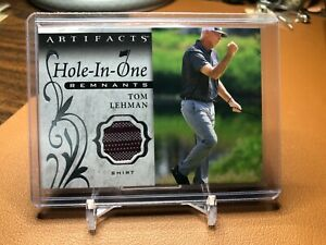 TOM LEHMAN 2021 UD ARTIFACTS HOLE IN ONE REMNANTS SHIRT CARD