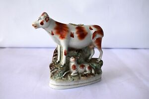 """Antique Staffordshire Spill Vase Cow And Calf Porcelain Decorative Collectibls""""K"""