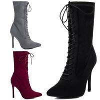 Womens Lace Up Zip Pointed Toe High Heel Stiletto Ankle Boots Shoes