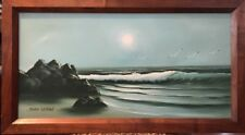 "JOHN LEMON Original Oil On Canvas - Florida Seascape 12""x24"" Handmade Frame"