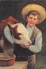R. Atkinson Fox Signed J. Colvin Boy Straw Hat & White Face Cow Rare Print 1920s