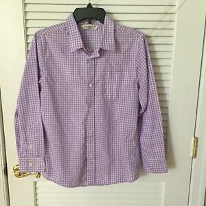 Boy's Old Navy Purple Plaid Cotton Button Front Shirt Size XL (14-16)