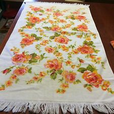 Vtg bath towel set 3pc FIELDCREST ivory pink rose SHABBY COTTAGE CHIC velour