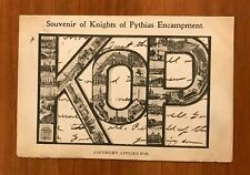 Knights of Pythias Encampment, KOP, Postcard, 1c Stamp, Postmarked 1906