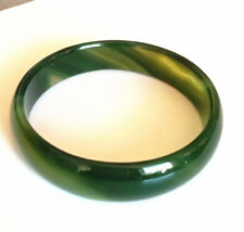 New Genuine Natural green agate jade bangle bracelet big size 70mm +box