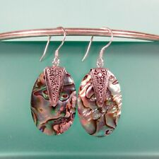 """Earring Handmade 925 Solid Sterling Silver 1 1/4"""" Oval Abalone Paua Shell"""