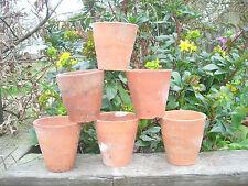 "6 Old Vintage Hand Thrown Terracotta Plant Pots 3.5"" Diameter Auricula Pots 12"