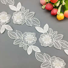 2 yd Flower Pearl Beaded Lace Leaves Trim Embroidered Ribbon Applique DIY Sewing