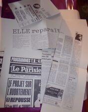 8 JOURNAUX SUR L' AVORTEMENT / 1974 / FAC SIMILES / LA DOCUMENTATION FRANCAISE