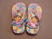 NEW GIRLS DORA THE EXPLORER RUBBER MULTI-COLORED SANDALS THONG SIZE SMALL 7 - 8