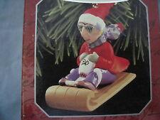 1998 Hallmark Maxine Ornament Maxine And Dog Floyd On Sled Sledding Toboggan