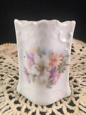 VINTAGE HAND PAINTED FLORAL PRINT MATCH HOLDER WITH MATCH SAFE STRIKERS ON SIDE